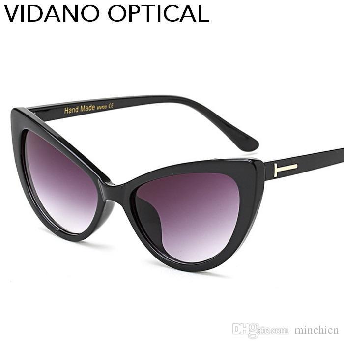 Vidano Optical Cat Eye Mulheres Óculos De Sol Hot Verão Clássico Cateye Óculos De Sol Designer De Moda Grande Marca Gradiente UV400