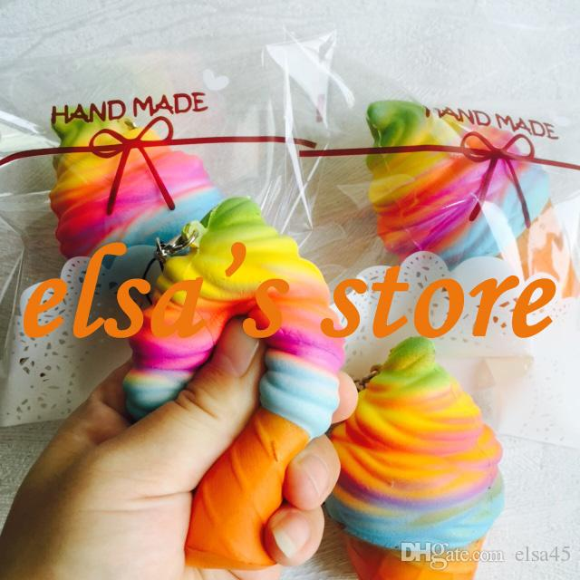 squishy wholesale 50pcs rare squishy kawaii colorful icecream slow rising with retail package kid toys gift mobile phone strap Free Shipping