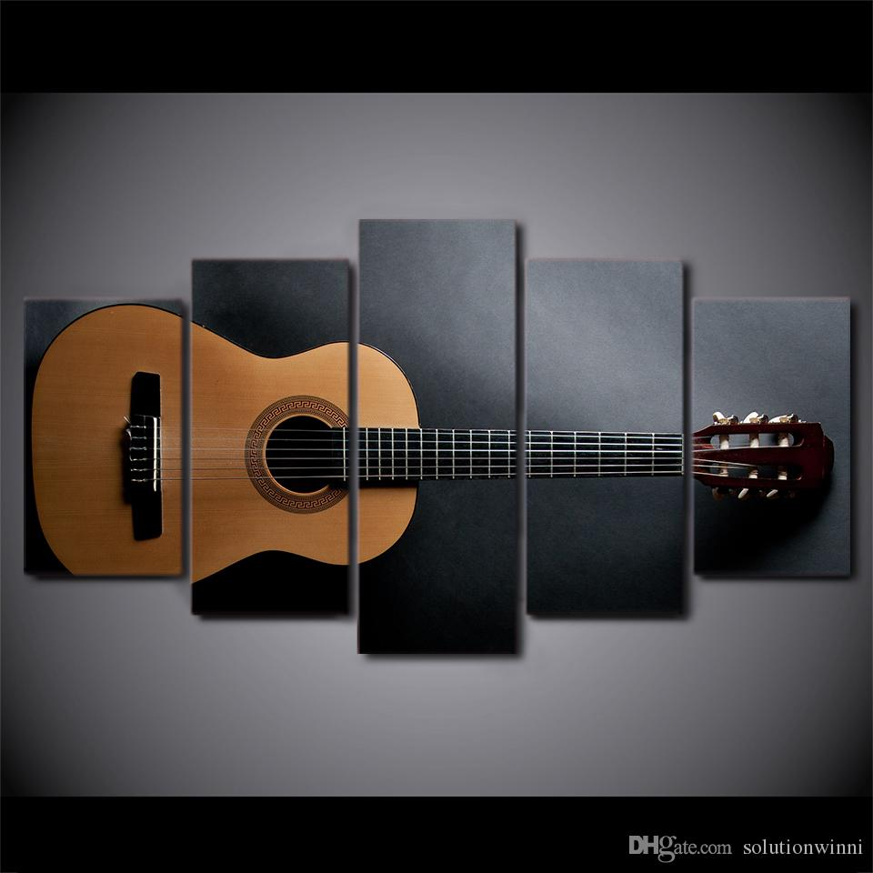 5 Pcs/Set Framed HD Printed Music Guitar Painting Wall Art For Kid Room Canvas Print Poster Canvas Pictures Painting