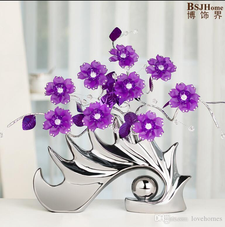 Modern shell Shape Ceramic Vase for Home Decor Tabletop this pirce is for a set vase and flowers together