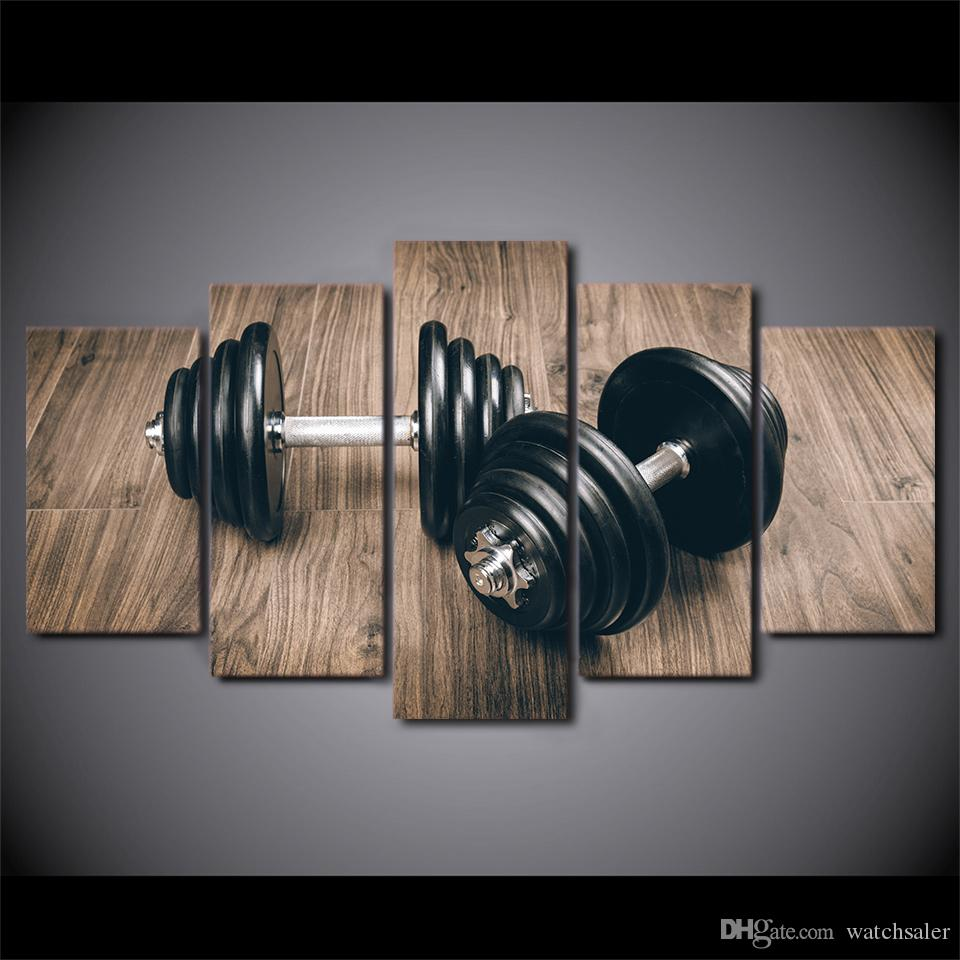 HD Printed 5 Piece Canvas Art Fitness Gym Sports Painting Dumbbells Wall Pictures for Living Room Modern Free Shipping