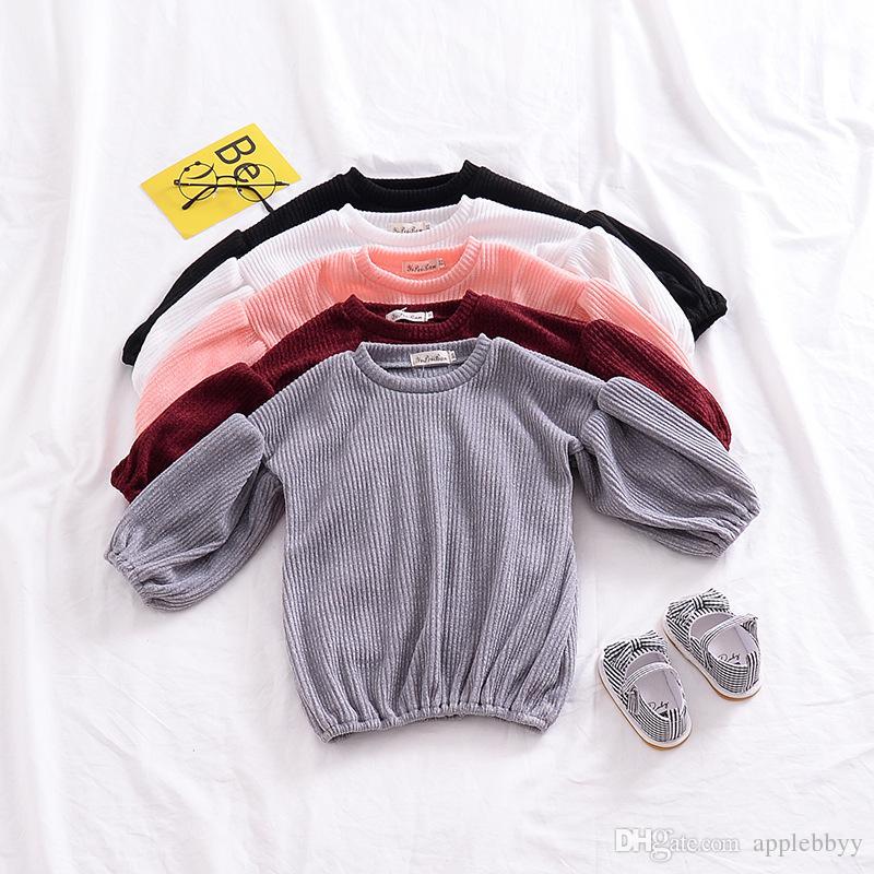 INS explosión camiseta nueva ropa para niños niñas modelos de otoño linterna mangas camiseta de los niños de color sólido camiseta