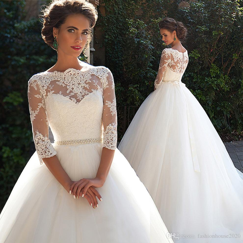 discount 2020 cheap vintage lace long sleeve wedding dresses new applique  beaded sexy lace back long train wedding bridal gowns cheap bride dresses