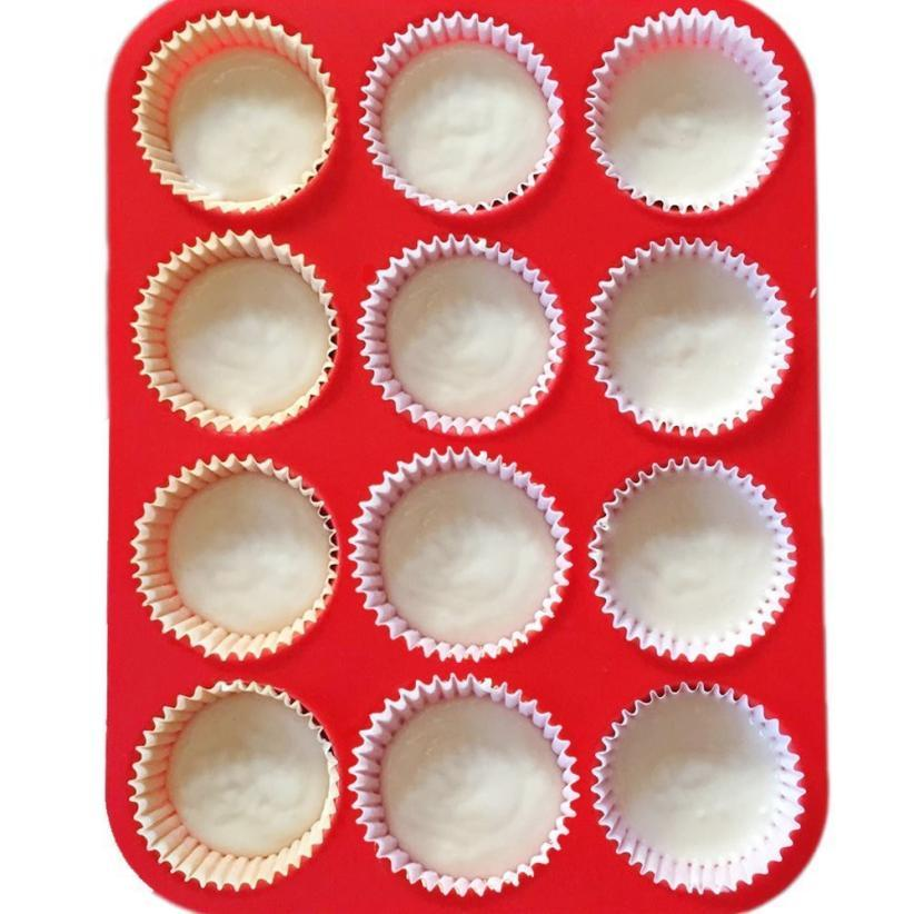 New Style 12 Cup Silicone Muffin Cupcake Baking Pan Non Stick Dishwasher Microwave Safe Patisserie Moules A Gateau Cake Mould