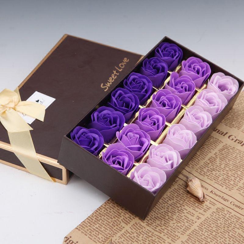 18pcs ensemble rose pétale de fleur de savon de bain avec boîte cadeau pour style de noce 4 de noce