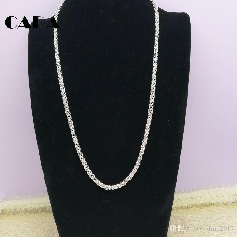 New Arrival 925 sterling Silver plating stainless steel versatile 5mm thick twisted chain necklace for men women Chokers Necklaces,CARA0002
