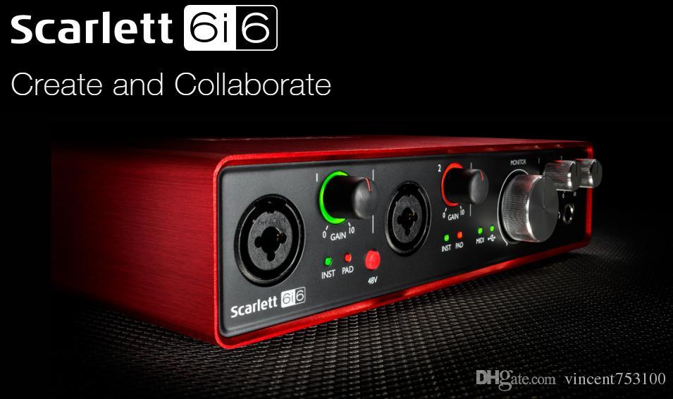 새로운 Focusrite Scarlett 6i6II 6 In / 6 Out 2 개의 Focusrite Mic Preamp를 갖춘 USB 2.0 오디오 인터페이스 녹음 용 전문 사운드 카드