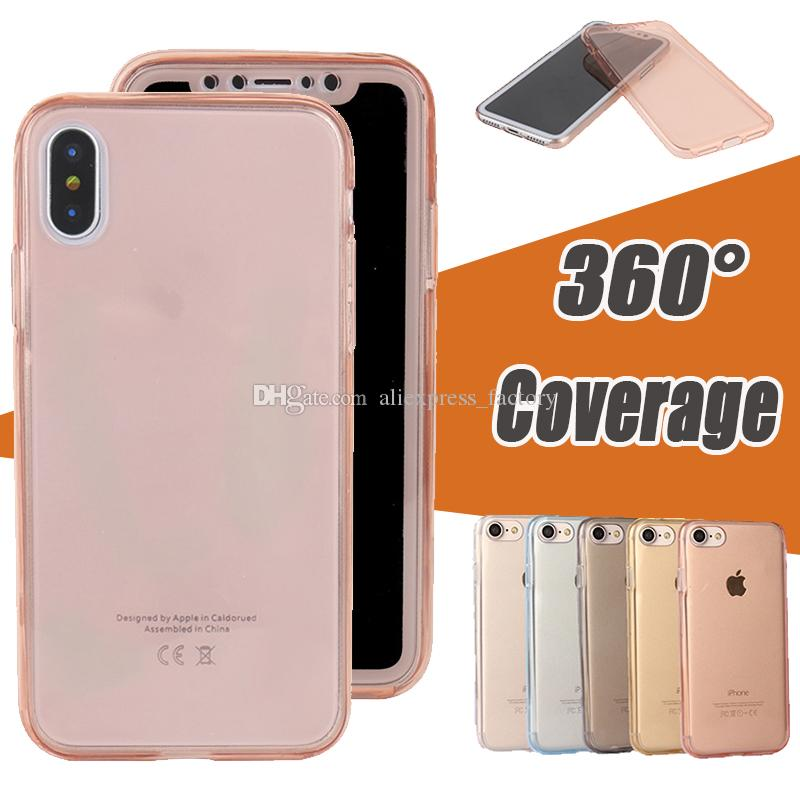 360 graus de cobertura iPhone cobrindo todo o corpo macio TPU borracha Capa Para 11 Pro Max XS XR X 8 7 6 6S Além disso Samsung S10 E A10 A30 A40 A50 M10 M20