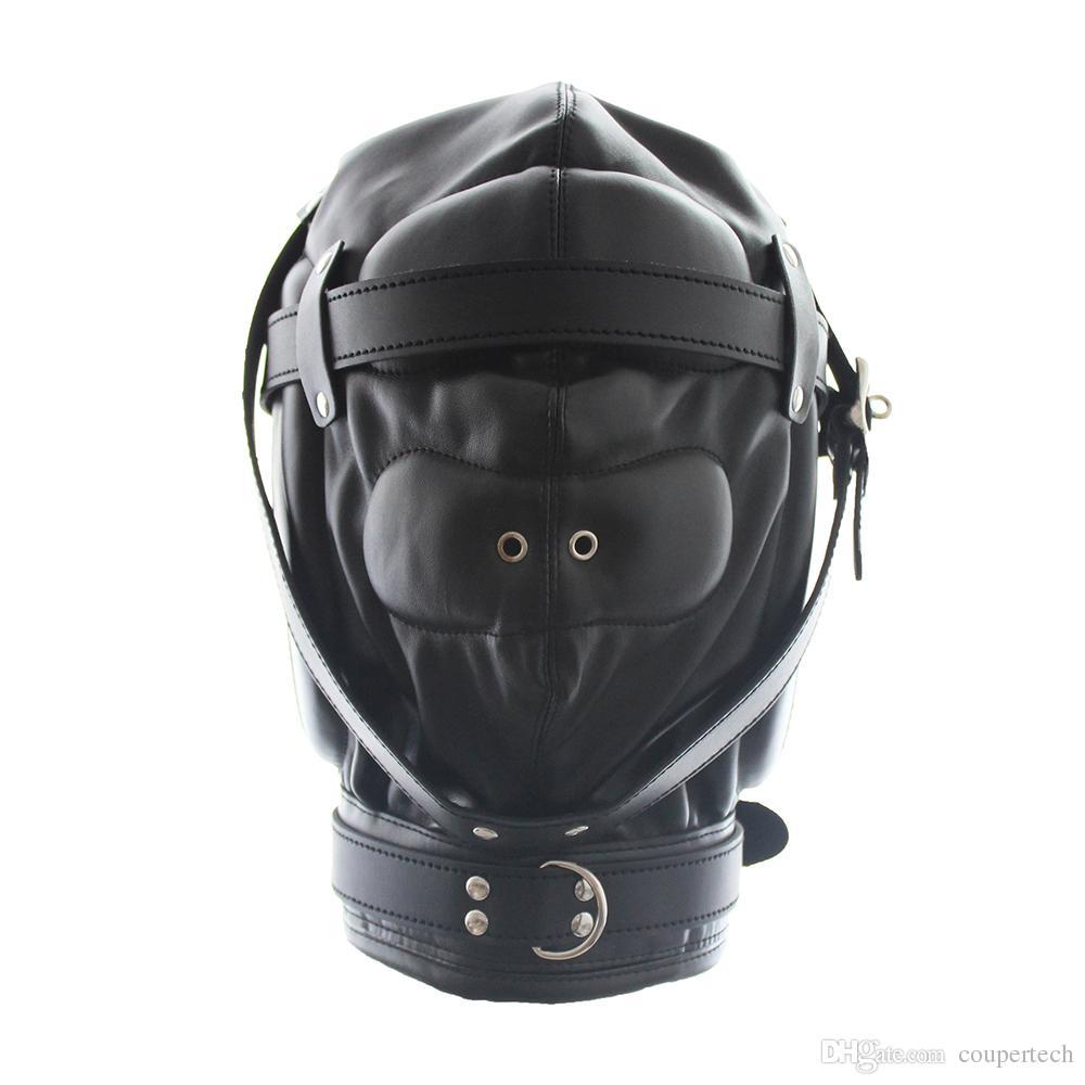 PU Shipping Pink / Black Fetish Бесплатная кожаная дышащая кухонная секс CP-GN0100 Секс-бондаж маска VRWXI
