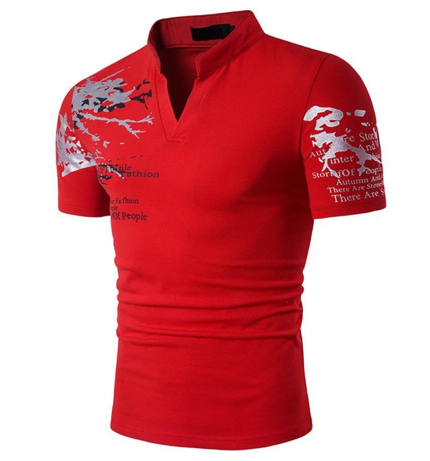 Floral Brief T-shirt Männer Reflektierende Druck Design Stehen Collor V-ausschnitt Kurzarm Pullover Sport Männer Casual T-shirt Geben Sie Schiff Frei