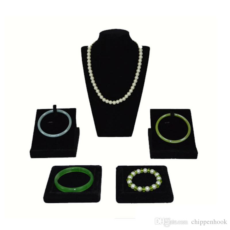 Wholesale 5Pcs Black Velvet Jewelry Display Rack Wooden Necklace Bust Bracelet Bangle Organizer Storage Display Stand Holder Kit Black Cases