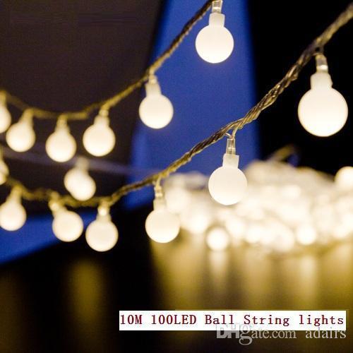10M 주도 문자열 조명 100led 공 AC220V 110V 휴일 웨딩 파티오 장식 램프 축제 크리스마스 조명 야외 조명