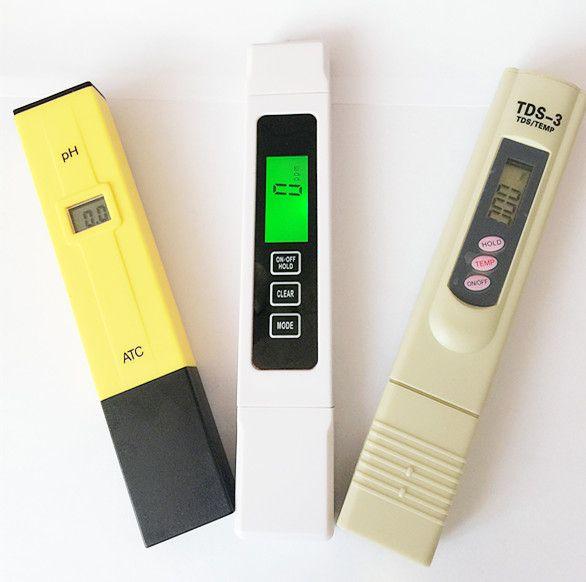 3 шт. / Лот TDS EC 0-5000 ppm тестер, PH ATC / TDS калибровка удержанием TEMP, счетчик дна, цифровое перо, контроль качества воды для