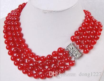 "Charm Fashion!4Rows 8MM Red Ruby Jade Round Beads Gemstone Necklace17""--20"