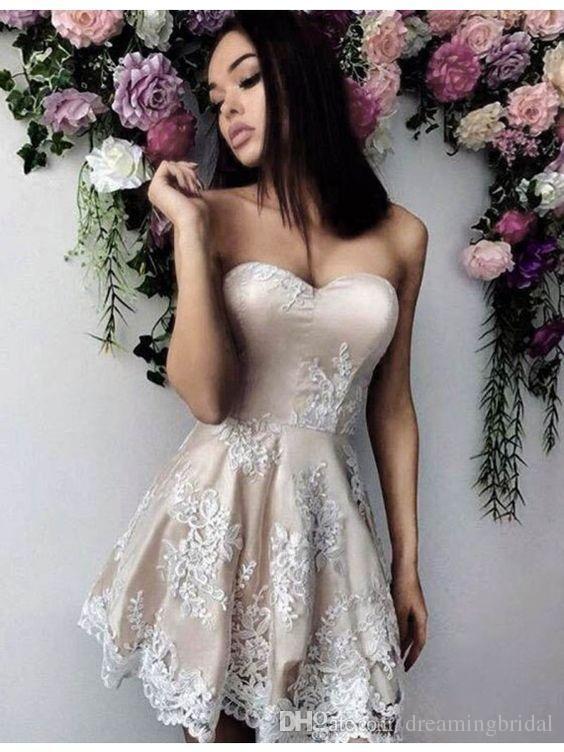 2017 neue Champagne cocktail dress Sleeveless Schatz Kurze Brautkleider Applique Fleck Zipper Homecoming Kleider Party Kleider