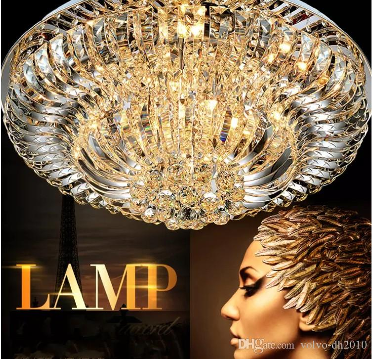 Contemporary Round Crystal Chandeliers Surface Mount Ceiling Lamp E14 Led Glass Hanging Lights Fixtures Kitchen Living Room Bedroom LLFA
