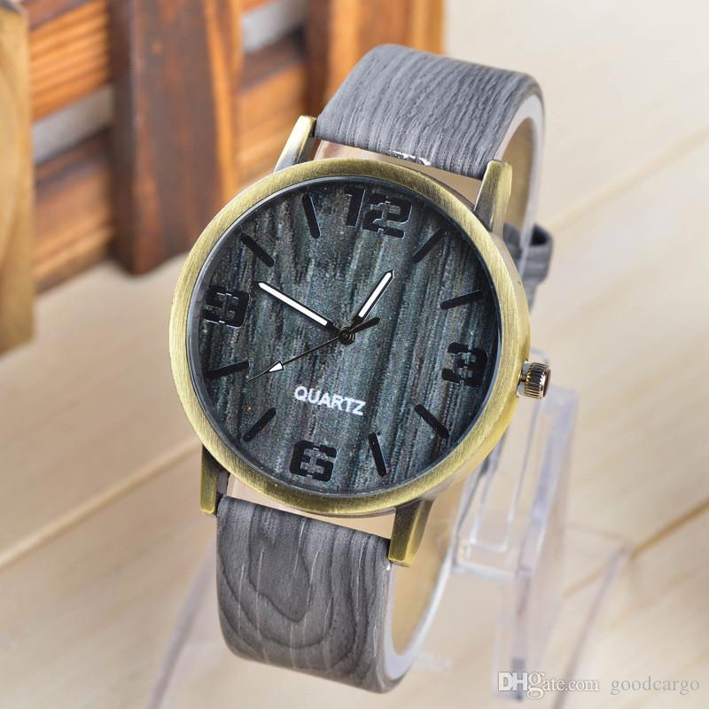 women product faux watches quartz for vintage fashion men wristwatches new design leather unisex grain watch gift wood casual