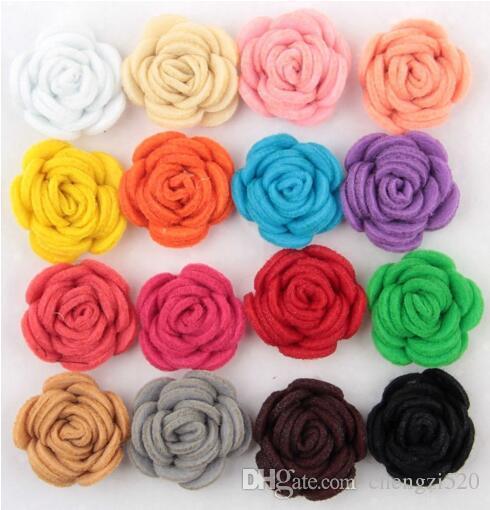 16 colores de moda hechos a mano fieltro rosa flor Diy para accesorios para el cabello diadema adornos YH465