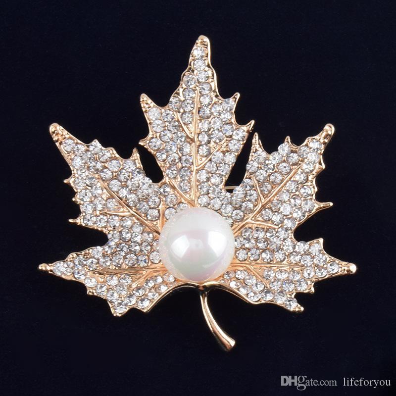 Старинные горный хрусталь брошь Pin золото пластины сплава Перл лист ювелирные изделия брошь корсаж для свадебное приглашение костюм партии платье pin подарок