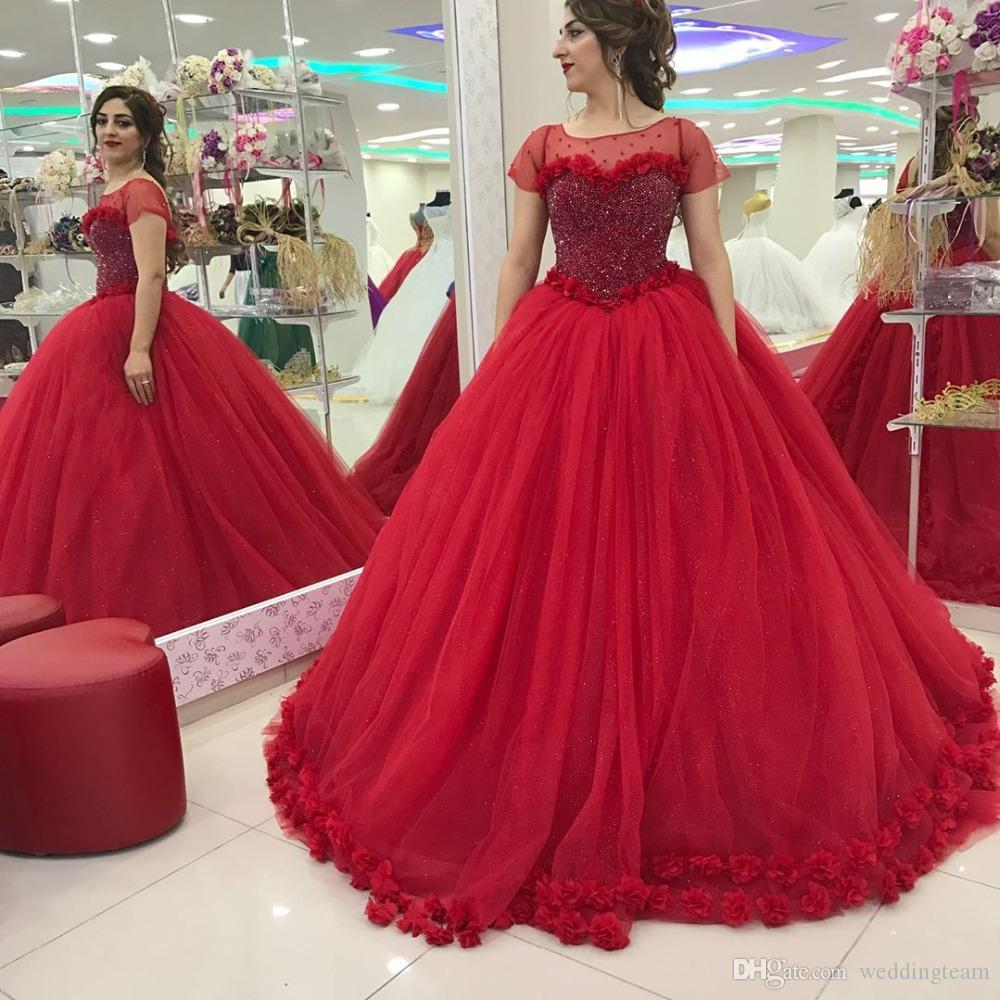 Classic Red Ball Gown Princess Muslim Wedding Dresses Scoop Neck