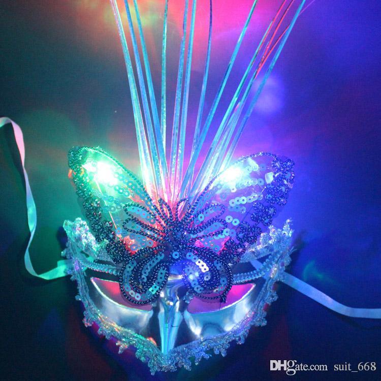 화려한 LED 파티 마스크 댄스 파티 공연 소품 공주 여성 베네 치안 마스크 도매 성인