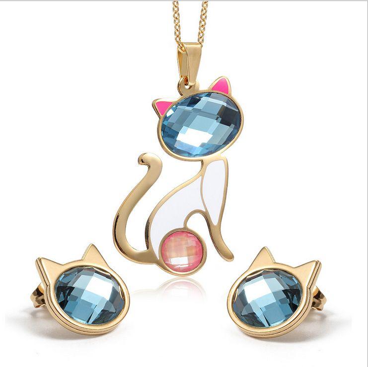 Halskette + Ohrringe Schmuck Sets Kristall Katze Schmuck Sets für Frauen Mode Edelstahl Gold Anhänger Großhandel S-073
