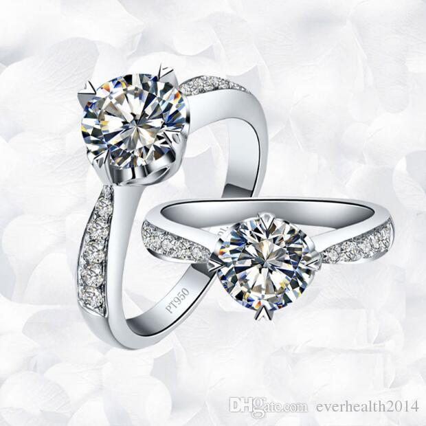 Lujo 1 ct cojín corte sintético anillos de diamante para mujeres anillo de boda chapado en oro anillo exagerado Japón / estilo coreano Royal Cou