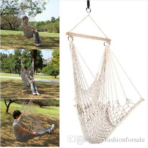 Travel Camping Outdoor Hammock Chair Hanging Chairs Swing Cotton Rope Net Cradles Kids Adults
