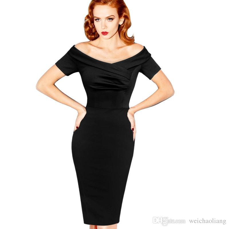 Lcw New Fashion Womens Summer Elegant Vintage Pinup Rockabilly Sexy Off Shoulder Ruched Party Bodycon Sheath Wiggle black Dress