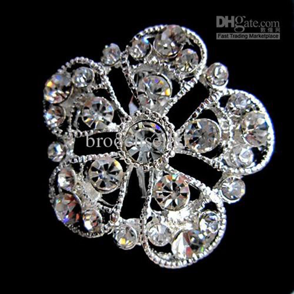 "1.4 ""Silver Tone Legering en Rhinestone Crystal Small Flower and Diamante Broche"