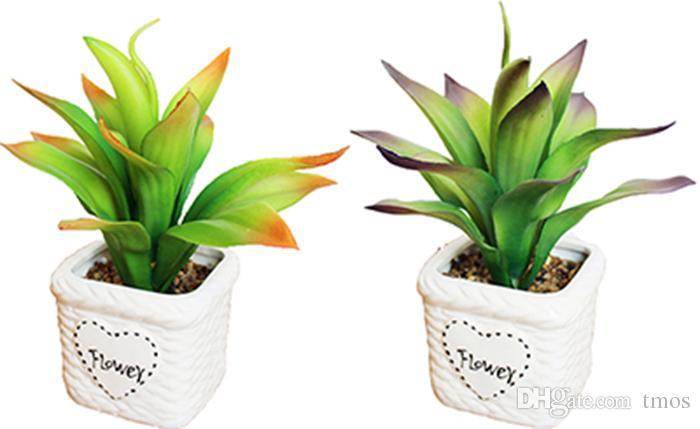 Spedizione gratuita in ceramica artificiale bonsai vasi bianchi con vivid dinamiche foglie piante fai da te piccolo fioriera piante grasse ornamenti decor