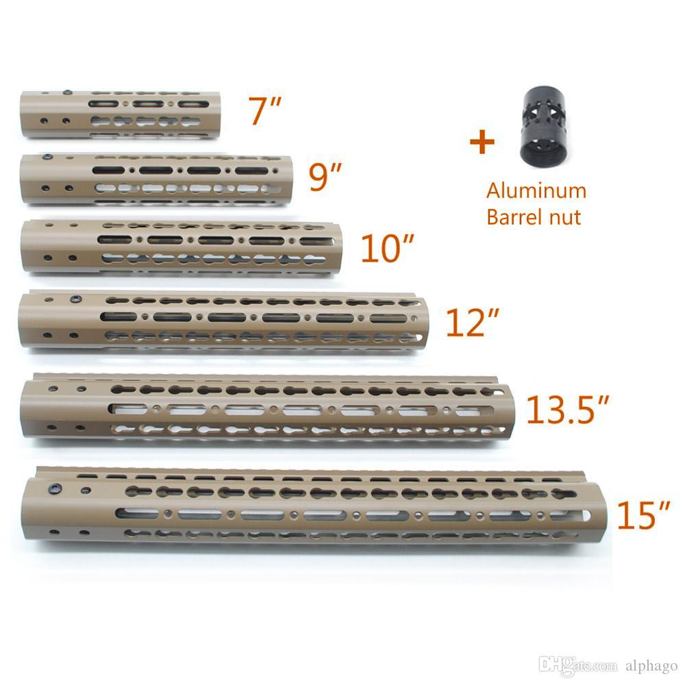 탄 칠한 7,9,10,12,13.5,15 인치 인치 NSR Keymod 핸드 가드 레일 무료 부동 Picatinny 마운트 시스템 알루미늄 배럴 너트