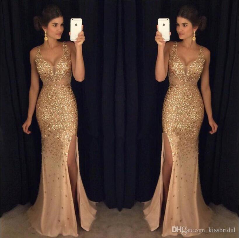 Guld prom klänningar kristall beading djupa v nacke sjöjungfru chiffong hög slit kväll klänning bär formell fest klänning