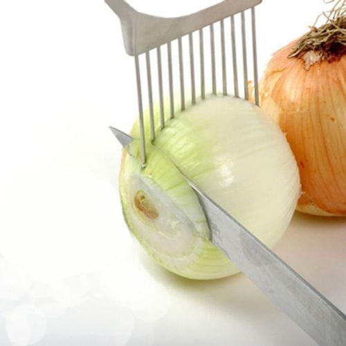 최신 !!! 스테인레스 스틸 양파 슬라이서 야채 토마토 홀더 커터 주방 도구 가제트 2016 주방 선물