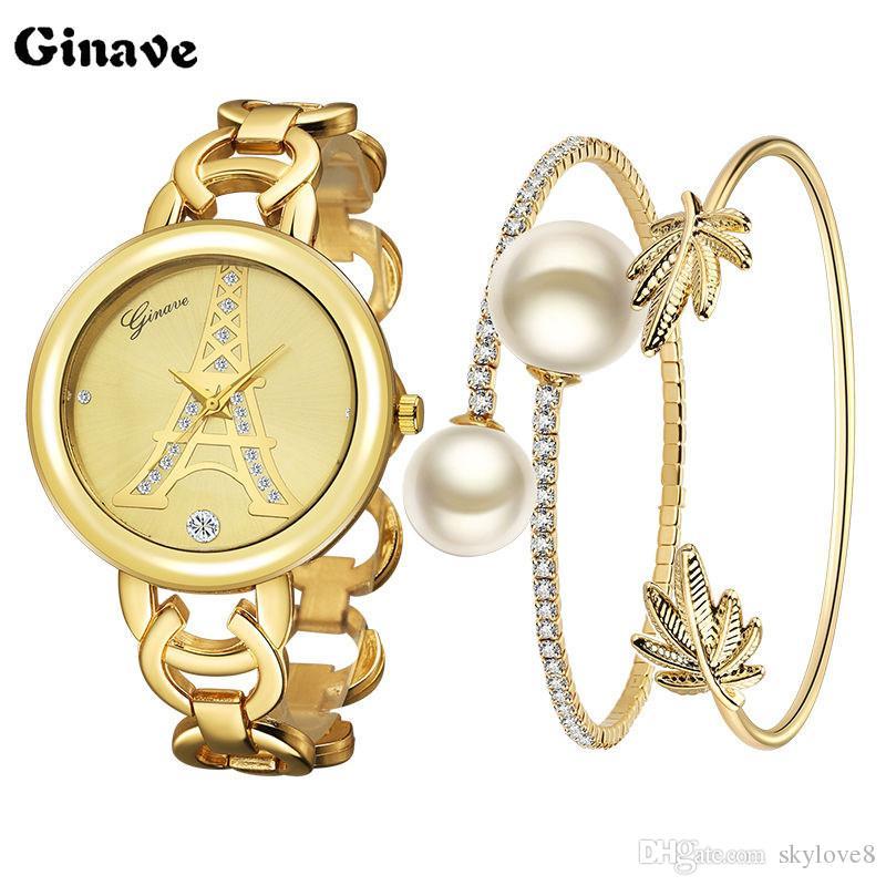 2017 nouvelles dames de mode montres 18K or Bracelet Set Watch est très élégant et beau spectacle charme de la femme