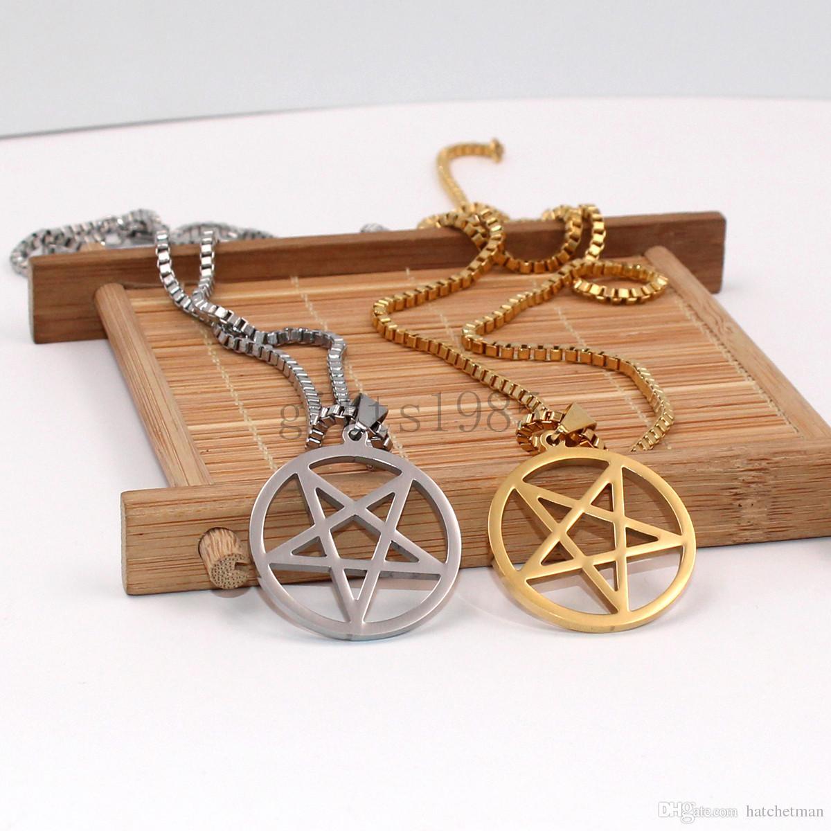 Wicca Pentagrama Pentagrama Invertido Aço Inoxidável Colar de Pingente de Prata corrente de caixa Unisex