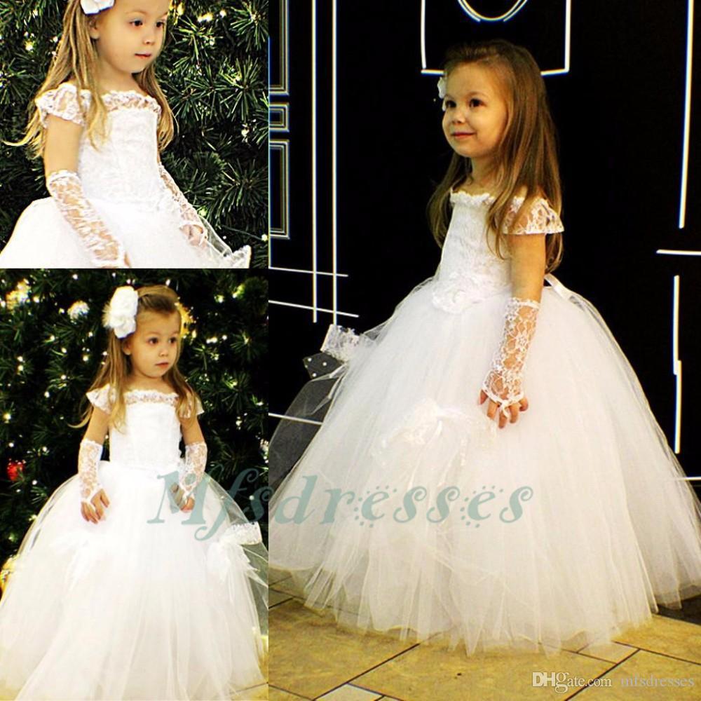2017 Encantadora de Tulle Vestido de Bola de Tul Vestidos de Niña de Cumpleaños del Bebé Vestido de Fiesta de Navidad Niñas Vestidos de Primera Comunión