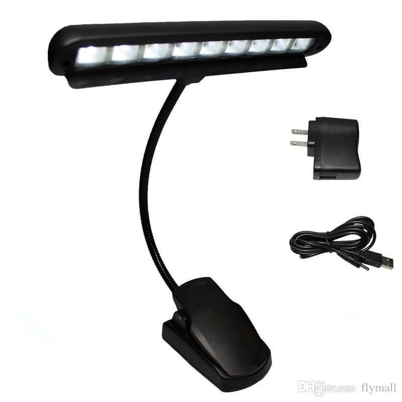 Rechargeable Table Lamp 9 LED Clip Light Orchestra Arm Flexible Music Stand Adapter Book Reading Lamp Book Lights piano lamp