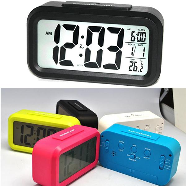 Digital Alarm Clock LED Screen Clock Low Light Sensor Technology Temperature Display Electronic Desktop Digital Clocks New DHL Free OTH356