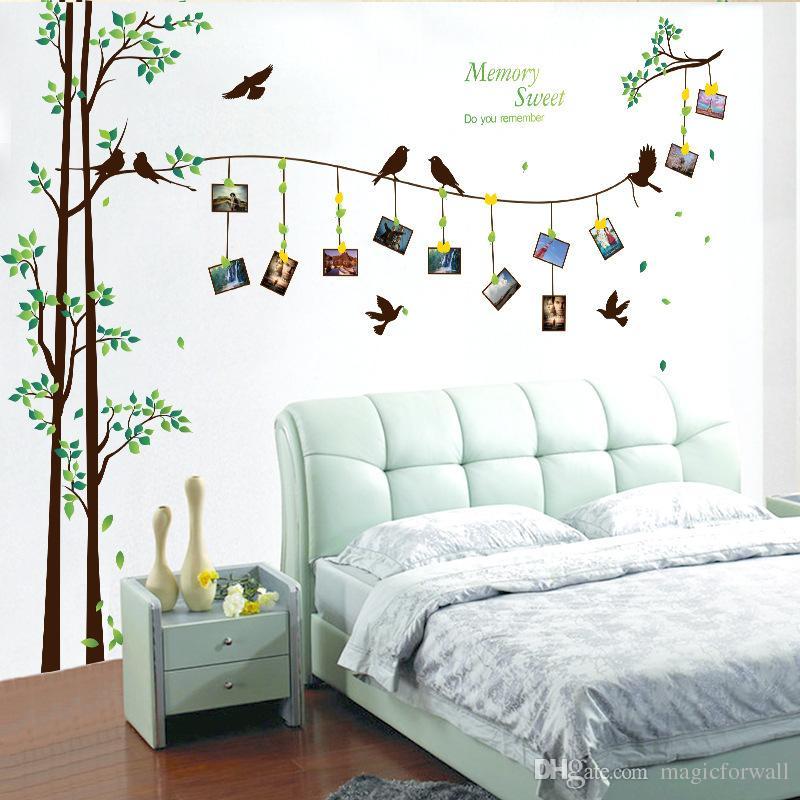 Decalcomanie Da Muro.Acquista Uccelli Sull Albero Cornice Decalcomania Da Muro Home Decor Wallpaper Poster Testiera Tv Sfondo Adesivo Da Parete Memory Sweet Quote A 13 92