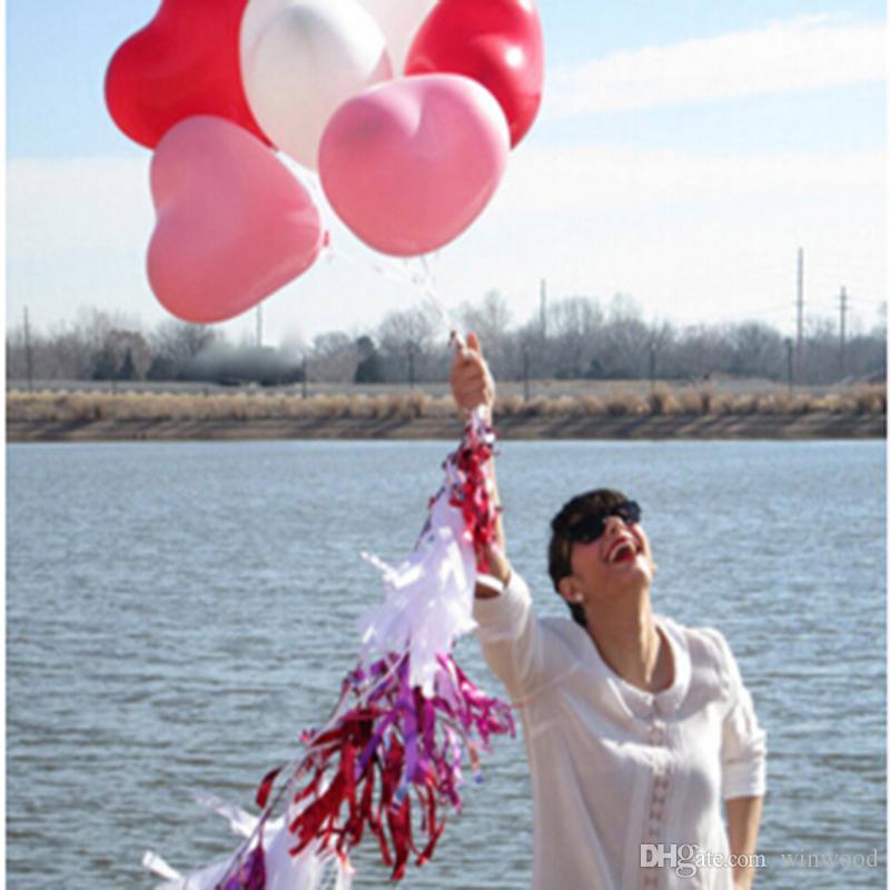 1.2g En Forme de Coeur Ballon En Latex Ballon Multicolore De Ballon Festival Célébration Décoration Jouet Balle Cadeaux De Mariage Fête D'anniversaire Fournitures