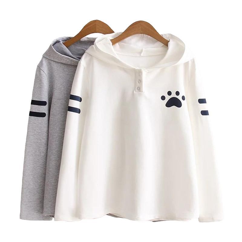 Damen Hoodies Sweatshirts Großhandel - 2021 Mode Japanischer Stil Frühling Herbst Sweatshirt Katze Ears Klaue Markierungen Kawaii Langarm H