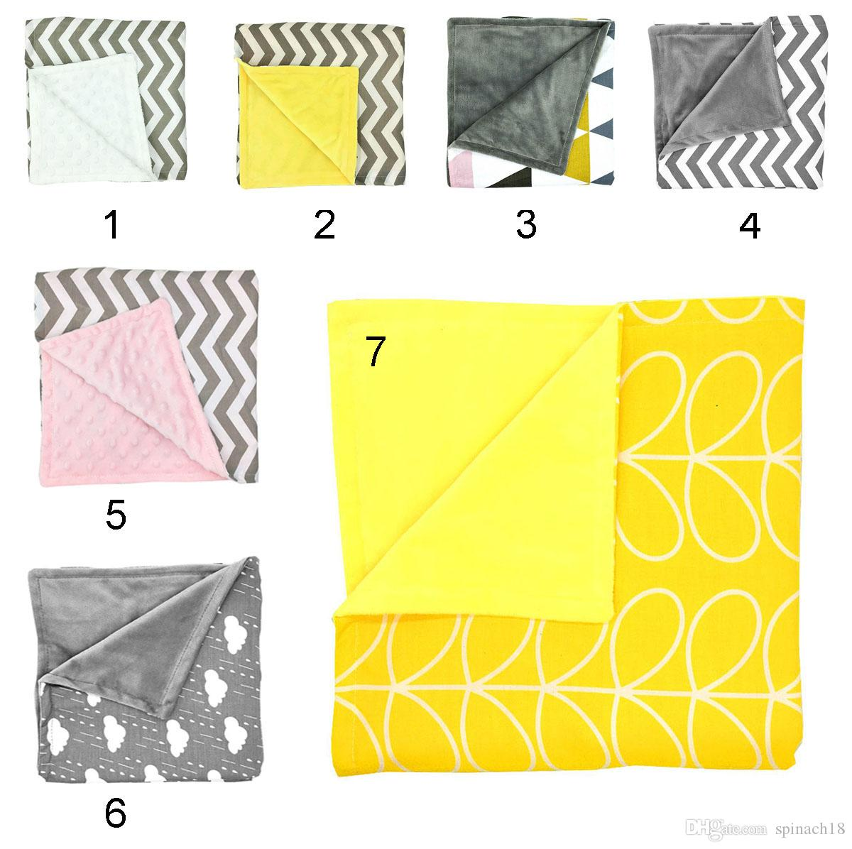 Ins New Baby Chevron Minky Blankets Infant Wave Striped Swaddle Wrap Newborn Swaddling Fashion Stroller Manual Blanket Nursery Bedding