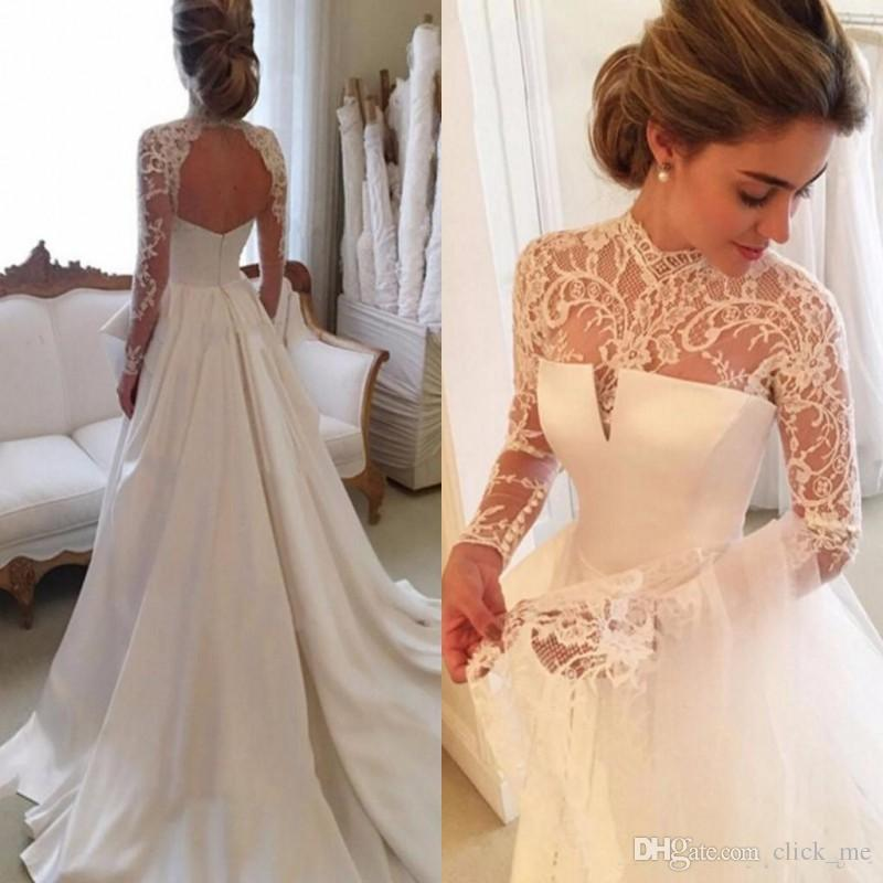 Discount Gorgeous Long Sleeve Wedding Dresses With Sheer Neck Jewel Sexy  Open Back Bridal Gowns Satin Vintage Wedding Dress Lace Top Cheap  Affordable