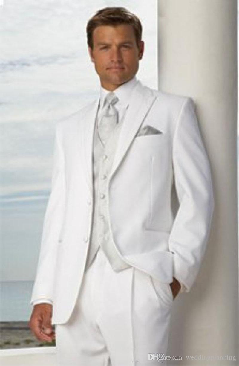 Custom Made White Classic Slim Fit Groom Tuxedos Best man Peak Lapel Groomsman Men Wedding Suits Bridegroom (Jacket+Pants+Tie+Vest)