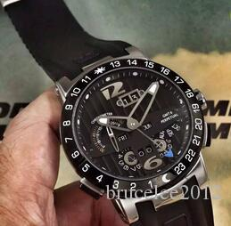 Top Marca Homens Luxo Relógios Mecânicos Automáticos UN El Toro Calendário Perpétuo GMT MULTI-FUNÇÕES Black Dial Rubber Men Esporte Relógios De Pulso