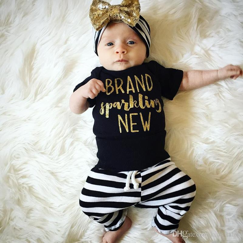 2017 Spring summer infant toddlers clothing sets baby girl short sleeve letter print romper+stripe leggings+headband 3Piece Outfits