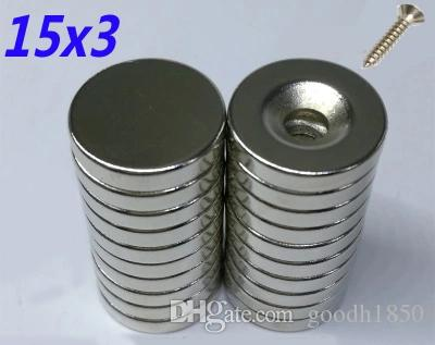 20pcs(10pcs with holes+10pcs not have holes) per lot size of Dia 15x3 mm hot round magnet Strong magnets Rare Earth Neodymium Magnet