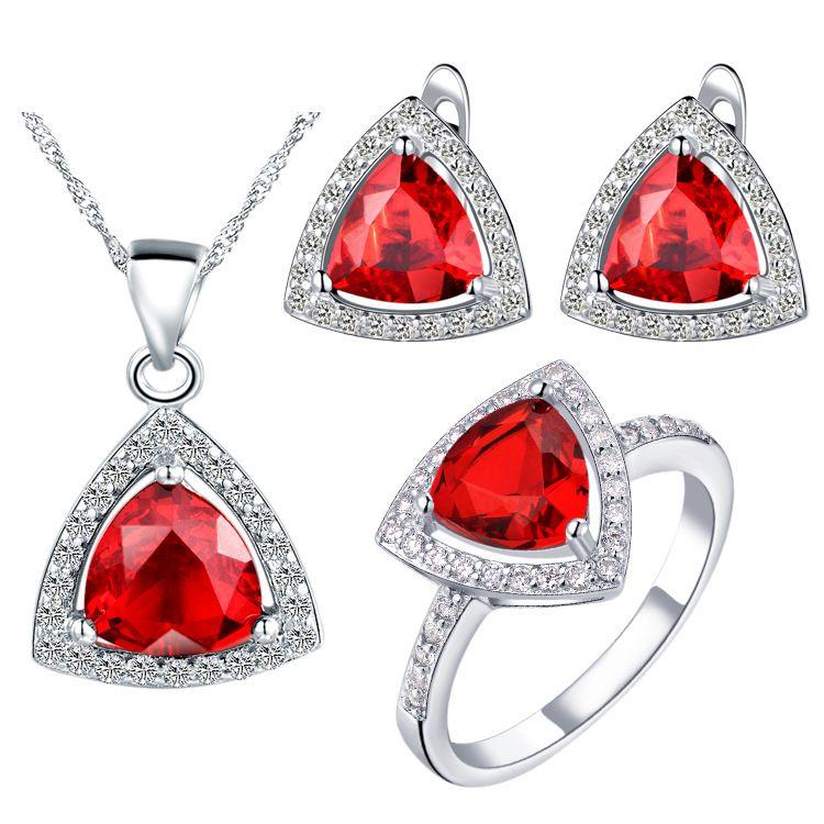America Zirconium 925 orecchini pendenti in argento Anello regalo donna abiti su misura vestito triangolare tricolore opzionale coda cleara