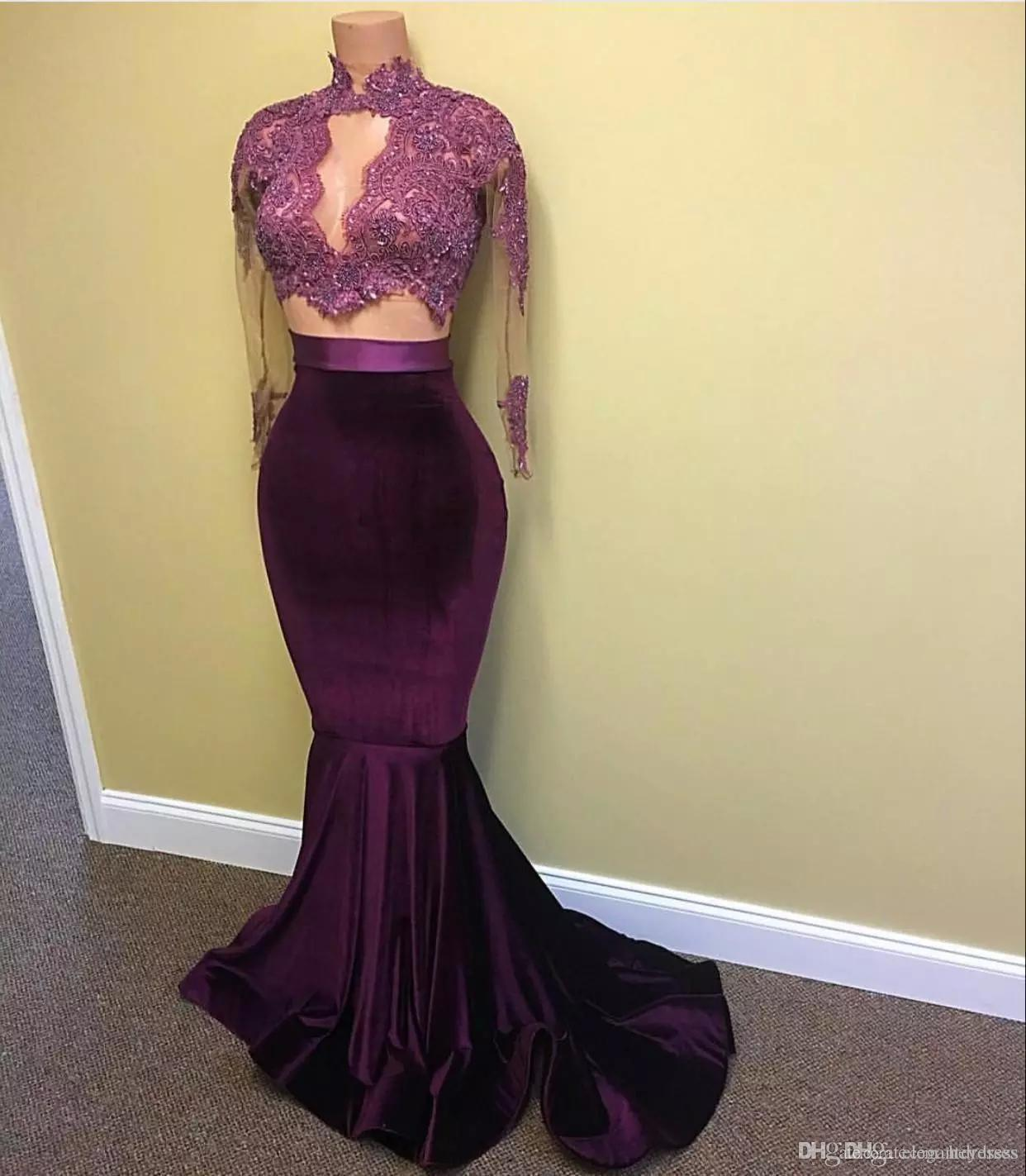 2017 New Velvet Two Pieces Prom Dresses Mermaid Style Lace Sheer Beaded Formal Dress Long Sleeve Women Arabic Celebrity Evening Gowns